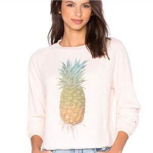 WildFox pink cropped pineapple long sleeve